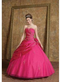 Taffeta Strapless Scalloped Neckline Embroidered Bodice Quince Dress