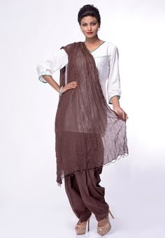 Dark Brown Cotton Patiala With Dupatta Online Shopping: BJK16