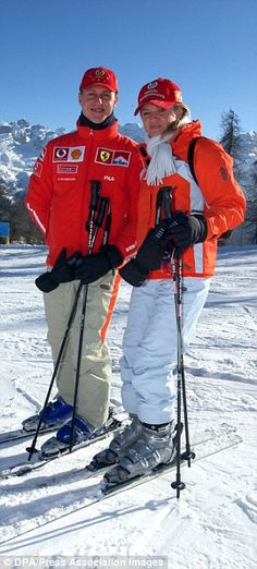 Michael Schumacher on a ski trip with his wife Corinna in 2003. No expense has been spared...