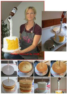 Gravity cake Source by Anti Gravity Cake, Gravity Defying Cake, Cake Decorating Techniques, Cake Decorating Tutorials, Fondant Cakes, Cupcake Cakes, Bolo Chanel, Beer Mug Cake, Cake Structure