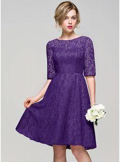 A-Line/Princess Scoop Neck Knee-Length Lace Bridesmaid Dress