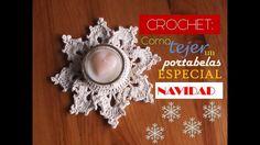 CROCHET: como tejer un PORTAVELAS especial NAVIDAD (diestro) Candels, Xmas, Christmas, Crochet Doilies, Master Class, Pin Cushions, Tea Lights, Candle Holders, Tissue Holders