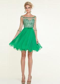 Prom Dresses 2015 | ... Mori Lee 9301 Emerald Off Shoulder Beaded Net Short Prom Dress 2015