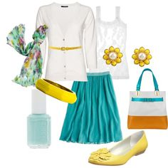 Cute summer outfit. I love the skirt, scarf, and shoes!