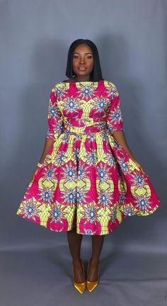 NEW IN:Vintage style African print tea length dress,clothingwomen's clothing,cocktail dress,dresses, Short African Dresses, Latest African Fashion Dresses, African Print Dresses, African Print Fashion, Ankara Fashion, Latest Outfits, Ankara Styles For Women, Latest Ankara Styles, Vintage Stil