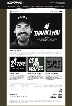 Movember thanked participants for their support by personalizing the top image in real-time at the moment of email open with each subscriber's name. #emailmarketing #personalization #realtime #movember