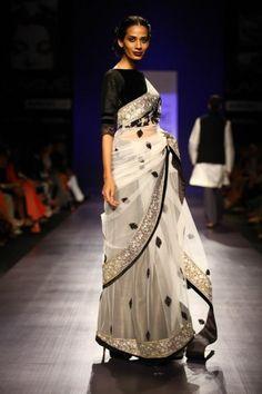 Indian Wedding Fashion by Manish Malhotra at Lakmé Fashion Week 2013.  Black and white simplicity - love it!
