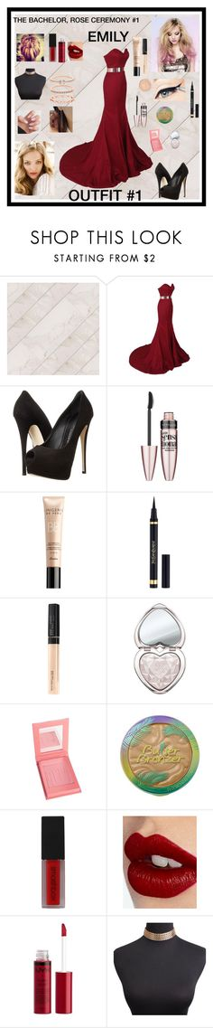 """THE BACHELOR ROSE CEREMONY #1 OUTFIT #1 CONTESTANT#1"" by natleeuhh on Polyvore featuring Giuseppe Zanotti, Maybelline, Guerlain, Yves Saint Laurent, Too Faced Cosmetics, Physicians Formula, Smashbox, Charlotte Tilbury, Charlotte Russe and Accessorize"