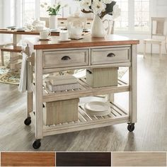 Eleanor Two-Tone Rolling Kitchen Island. Available in three finishes, so you can match this kitchen cart to any existing design or color scheme. Complete your kitchen or dining room with this convenient and stylish kitchen cart. Moveable Kitchen Island, Rolling Kitchen Island, Kitchen Island Cart, New Kitchen Cabinets, Kitchen Countertops, Kitchen Carts, Small Kitchen Islands, Blue Cabinets, Furniture Deals