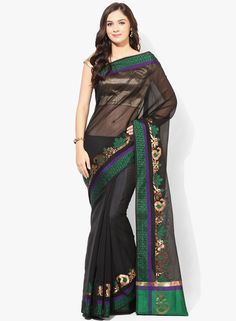 Buy Bunkar Black Embroidered Silk Blend Saree for Women Online India, Best Prices, Reviews | BU651WA43WAUINDFAS