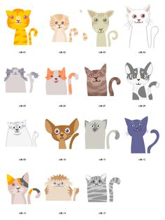 Cats free vector clipart, more on website - doubt I'll ever use these, but they're hysterical!
