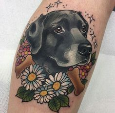 The popularity of floral tattoos is evident. Daisy tattoos are in great demand in the tattoo industry. In the article, you`ll find the best variants of symbolic daisy tattoos. Mini Tattoos, Dog Tattoos, Animal Tattoos, Body Art Tattoos, Sleeve Tattoos, Tatoos, Traditional Tattoo Dog, Dog Portrait Tattoo, Daisy Flower Tattoos