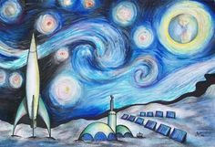 """""""Starry Night Interpretation"""" is a lesson that is a twist on the Van Gogh painting, Starry Night."""