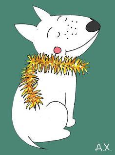 Bull Terrier Freckle decorated herself with a Christmas garland. Illustration by the Russian artist Daria Khmelevtseva
