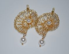 Crocheted Wire Shell Earrings, Gold Tone Wire Crochet Earring, White Pearl on Gold Shell Earrings, Crochet Wire Jewelry, White, Gold. $35.99, via Etsy.