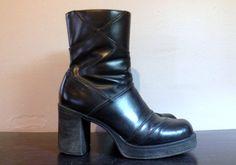 Vintage 90s Black PLATFORM Shoes Platform Ankle by faroutofsight, $37.00
