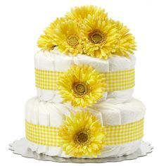 Bella Sprouts Two-Tier Diaper Cake - Yellow Gingham Daisies -