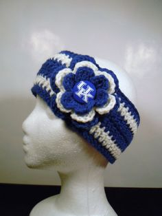 Crocheted Earwarmer Kentucky Royal Blue and by OliviaRyanbyDGuess