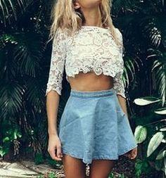 cute lace crop top with denim mini