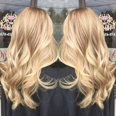 Beautiful cascading blonde hair by Lexi Schofield