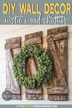 to Build Simple and Inexpensive Rustic Shutters DIY your own rustic wall decor. These simple farmhouse style shutters are the perfect DIY project for a beginner woodworker. They are quick and inexpensive, the perfect weekend project. Farmhouse Wall Decor, Rustic Wall Decor, Rustic Walls, Diy Wall Decor, Farmhouse Style, Rustic Farmhouse, Shutter Wall Decor, Room Decor, Country Style