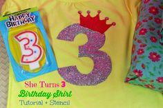 She Turns Three Birthday Shirt Tutorial + Stencil #birthday #crafts #diy #fabricpaint #glitter #printable #stencil #three #tshirt