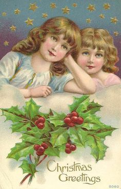 Old Christmas Post Card – Two Young Sisters'