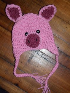Crochet Pig Hat by HeapOfGiggles on Etsy