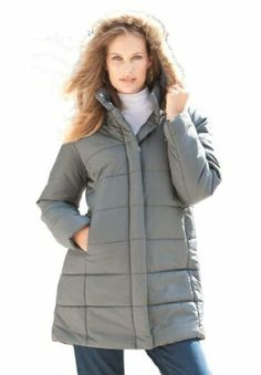 ecbbf5fb676 Roamans Women s Plus Size Quilted Short Parka Acrylic Polyester Faux fur.  Detatchable hood with faux fur