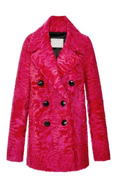 Bright Pink Glossy Astrakhan Coat by Marc Jacobs - Moda Operandi