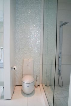 """Crystal's Penthouse contemporary-bathroom """" In fact the mosaic tiles I used for this project are the Bisazza's Narciso mix 1 (from Italy) with real silver inserts....you can view the whole collection at www.bisazzausa.com...glad you like them..."""""""