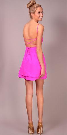 LOVE. Jennifer Hope - Serena Bareback Sweetheart Dress - Pop Pink