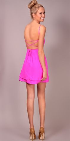 LOVE. Jennifer Hope - Serena Bareback Sweetheart Dress - Pop Pink