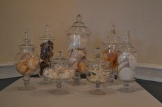 Apothecary jars with Shells at the Bald Head Island Club