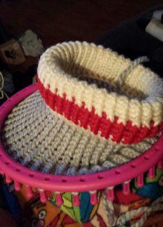 d103c66fbf1 Loom knitted work sock hat in progress.
