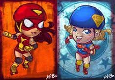 DC vs Marvel Roller Derby Art by Kevin Bolk