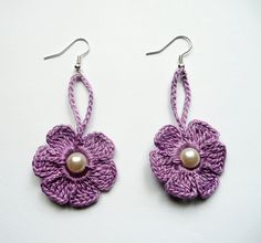 Purple Crochet EarringsCrochet Flower Earrings Crochet by atinqnka, $6.00