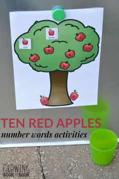Enjoy Ten Red Apples by Pat Hutchins and then learn about numbers with these number words activities. Preschool Apple Theme, Apple Activities, Kindergarten Math Activities, Autumn Activities For Kids, Kids Learning Activities, Toddler Activities, Number Activities, Science Activities, Number Words