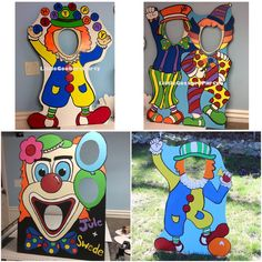 Carnival Theme Party Hand Painted Clowns! These Clown Photo props are a hit! Kids or adults can use them as photo props, balloon weights, or even a corn hole game. QUIT CLOWNING AROUND AND ORDER ONE!! :) These are Hand Painted with acrylic paint on 40x30 Foam Board standing at