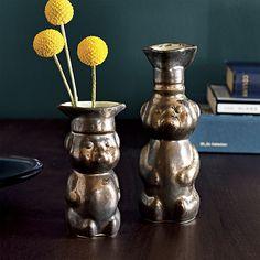 set of 2 honey bear vases by Brooklyn ceramic artist Demetria Chappo  | CB2