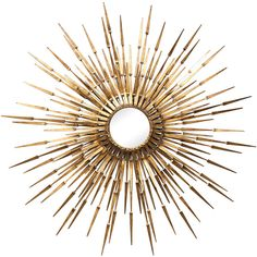 Antiqued Iron Gold Sun Mirror ($711) ❤ liked on Polyvore featuring home, home decor, mirrors, sun mirror, gold home decor, gold wall hanging, gold mirror and sun wall hanging