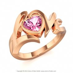 LOVE | Designer Ring with Pink Sapphire in 18k Red Gold