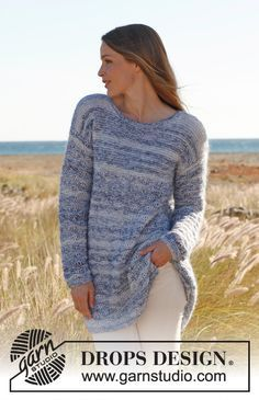 """Knitted DROPS jumper in garter st with dropped sts in """"Kid-Silk"""" and """"Baby Alpaca Silk"""". Size S - XXXL ~ DROPS Design"""