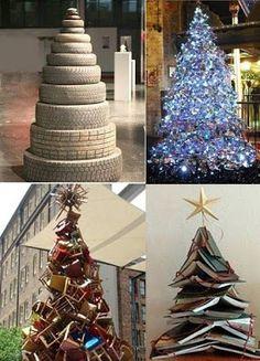 EL MUNDO DEL RECICLAJE: Más árboles de Navidad con material reciclado