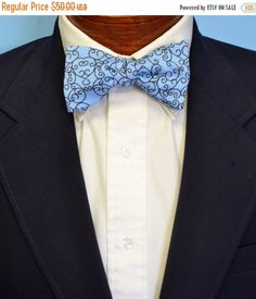 FLASH SALE Blue and Black Charleston Ironwork Bow by BarryBeaux