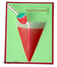 Strawberry Daquari card Bbq Party, Fiesta Party, Party Drinks, Strawberry Crafts, Youre Invited, I Am Awesome, Invitations, Cards, Fiestas