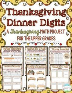 Thanksgiving will be here before you you know it, and this 8-page Thanksgiving Math Project is just what you need to keep your students engaged BEFORE and AFTER Thanksgiving! Students will love planning their very own Thanksgiving dinner, timing things just right, picking out their side dishes, calculating nutritional information, buying just the right sized turkey, graphing class meals, arranging seats just right, and more!