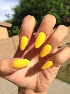 yellow acrylic nails. @elevenloser.