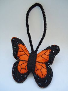 Monarch Butterfly Felt Ornament with Seed Beads, Gift for her, September Birthday, Christmas
