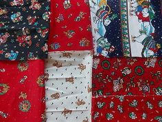 Estate Fabric Quilt Craft Stash Lot 7 Christmas Bears Teddy Polar Candy Stars ++